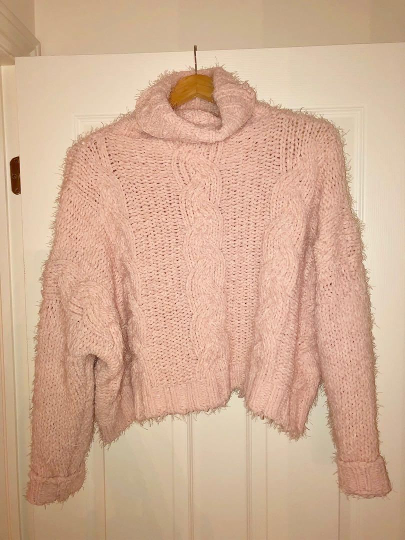 Oversized pink knit sweater from honey