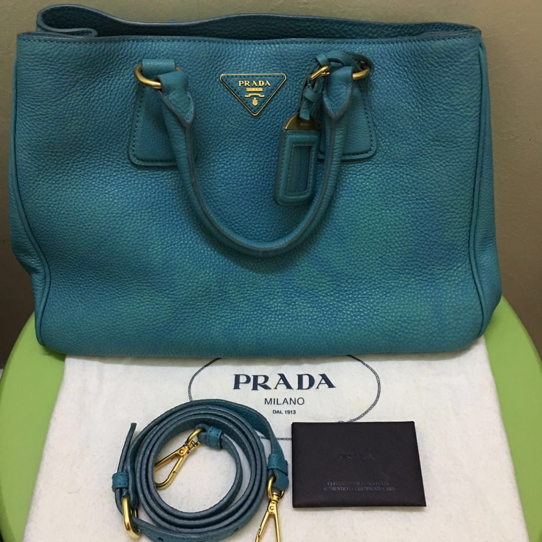 0b5e823fdfb628 Prada Tote in Turquoise , Luxury, Bags & Wallets, Handbags on Carousell