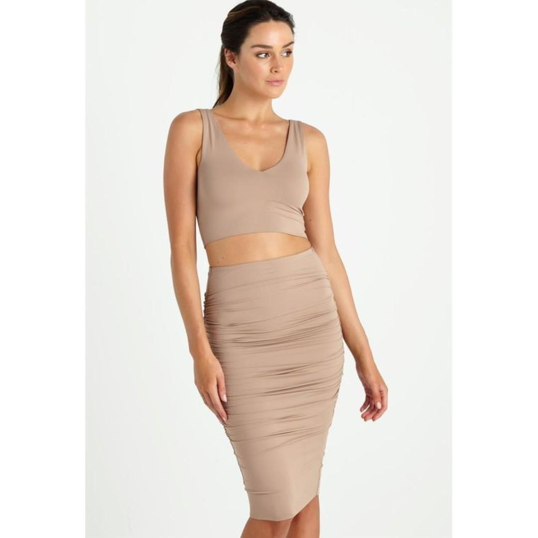 SUPRE Nude Midi Skirt Ruched Sides Tight Bodycon Tan Camel
