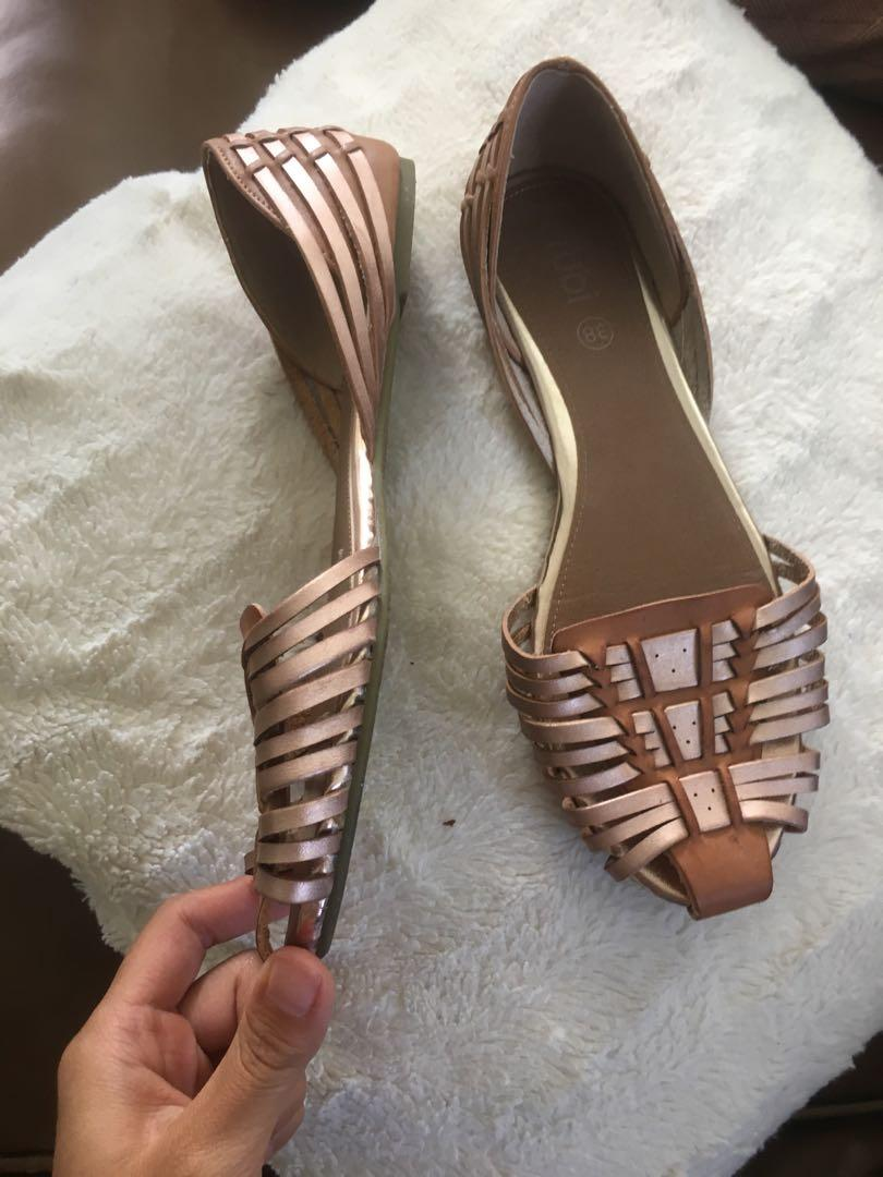 $5 SALE Tan rose gold weave sandals slip ons - Size 38