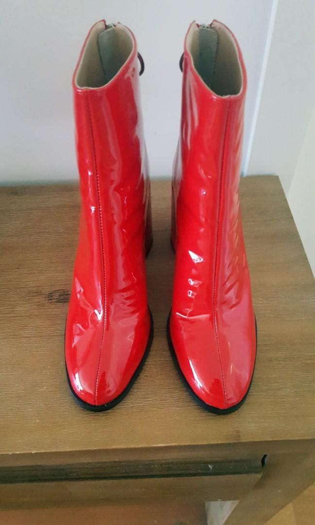 Tony Bianco red leather boots with zip feature - size 9 (rrp$240 sell for $120) brand new