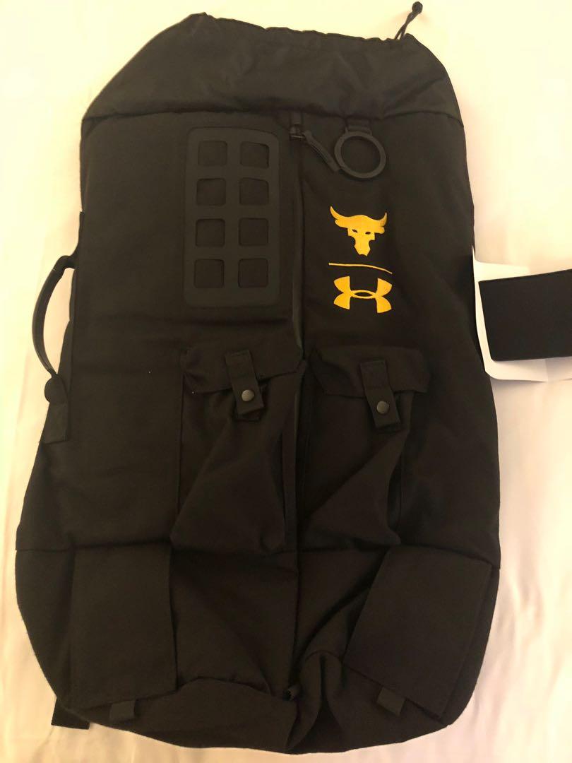 UA X Under Armour Project Rock Dwayne Johnson 60 Black Duffle Gym ... 27ccf21845d0e