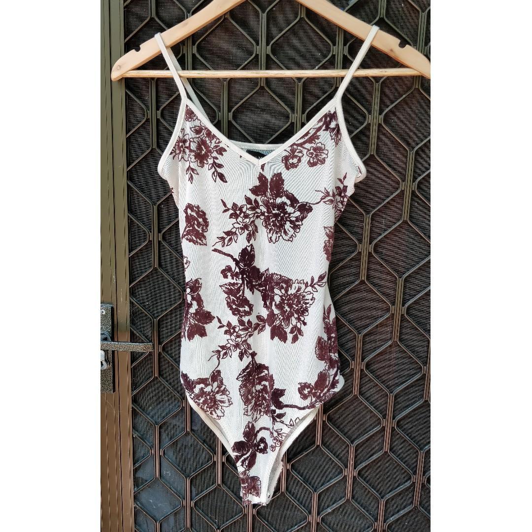 VALLEYGIRL Bodysuit Nude Pink Mesh With Velvet Floral Detail Sheer