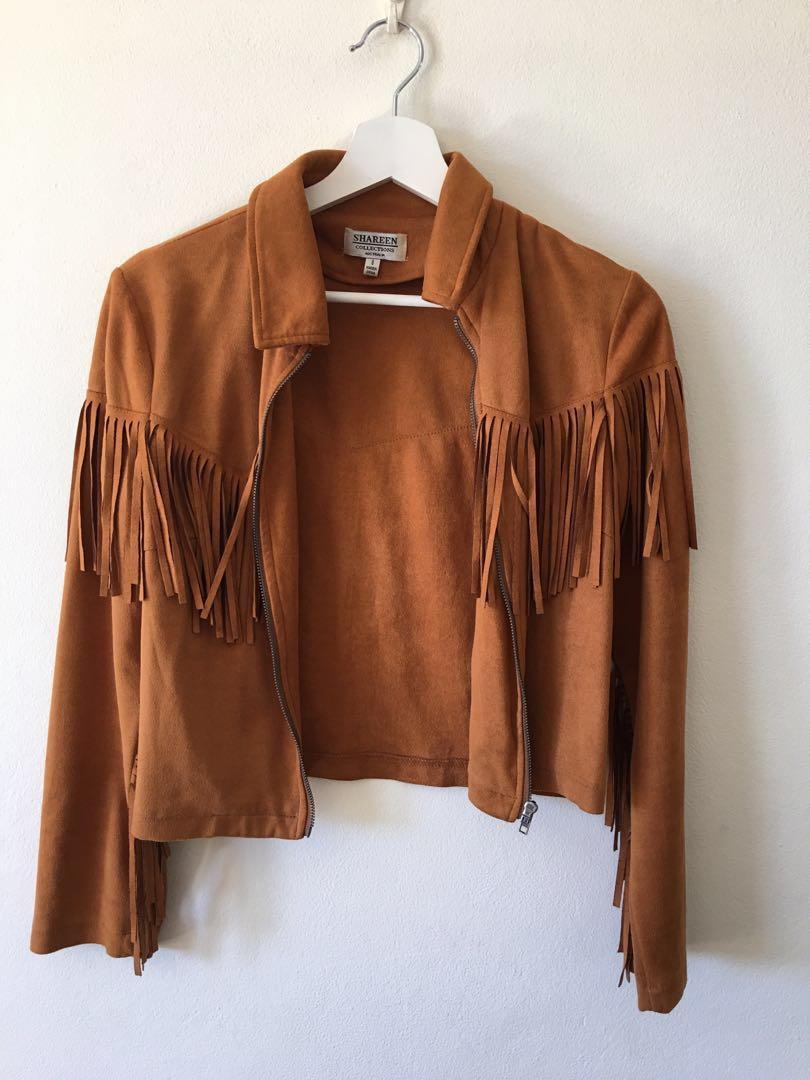 Vintage Suede Tan Fringed Jacket