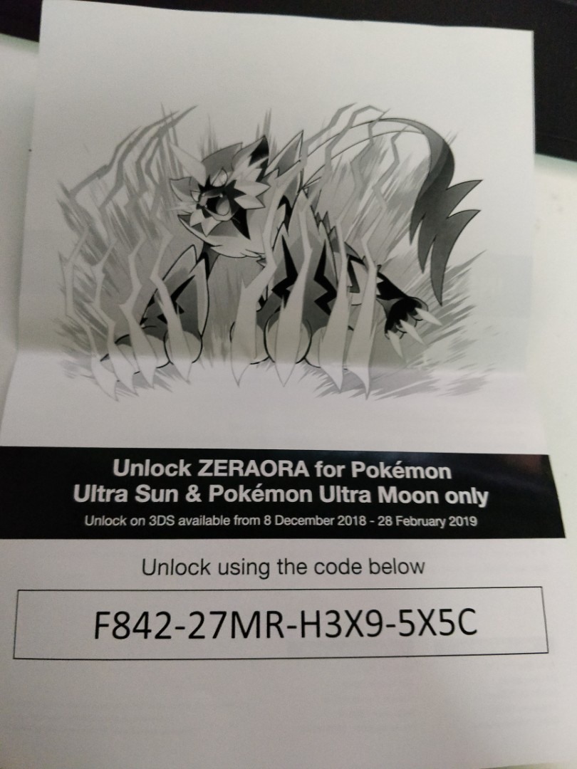 Zeraora redeem code, Toys & Games, Video Gaming, Video Games on
