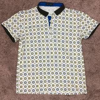 Patterned polo shirt 黃藍圖案白色有領上衣
