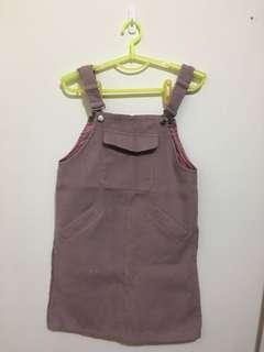 🚚 暗粉紅色毛呢吊帶裙