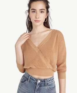 🚚 Cropped Knit Surplice Top