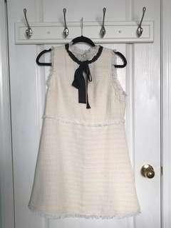 Tweed bow dress in cream