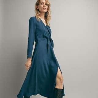 Massimo Dutti Teal Dress with Front Knot #dressforsuccess30