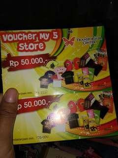 Voucher My 5 Store at Tranformer Center senilai 100.000 (2 Voucher) At Kampung Kidz