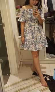 Floral blue grey dress
