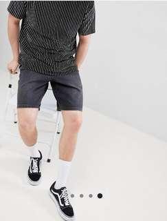 全新asos黑色刷色牛仔短褲