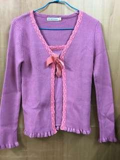 🚚 氣質典雅粉色長袖針織上衣 假兩件