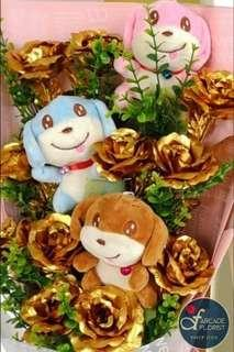 """11-Stalk 24K """"Gold Foil Plated"""" Roses Bouquet + 3 Puppy 