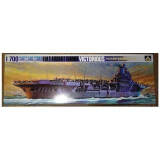 絕版 AOSHIMA Water Line 1/700 HMS Aircraft Carrier VICTORIOUS model kits 航空母艦 模型 1盒