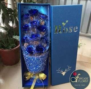 """💞11-Stalk 24K """"Gold Foil Plated"""" Blue💙 Roses (in a """"BOX"""") 