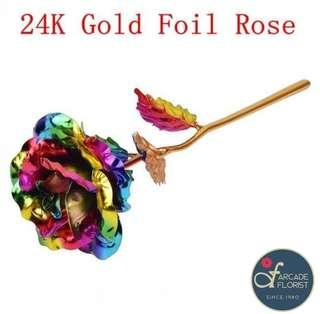 """1 Stalk 24K """"Gold Foil Plated"""" Rianbow🌈 Rose w/ Box & """"LOVE"""" Stand 