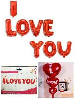 I LOVE YOU letter balloons with heart balloons