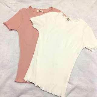 🌟 直條貼身短袖T恤 白色 粉紅色 T-Shirt
