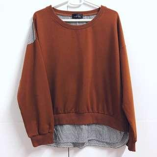🌸Chocolate Brown Stripe Print Back Panel Long Sleeve Round Neck Pullover Sweater Top