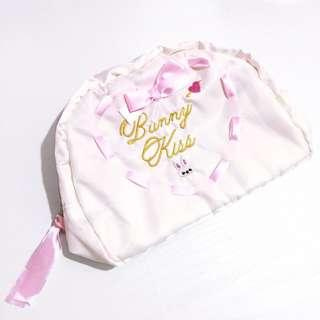 🌸White Pink Heart Ribbon Bunny Rabbit Embroidered Makeup Cosmetics Pouch