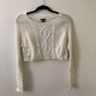 White cropped knit sweater