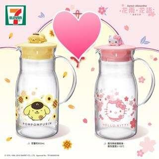 7-11 玻璃水瓶 花雨.花語 Hello Kitty and Pompompurin 布甸狗