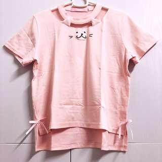 🌸Peach Pink Cat Ears Kitty Face Print Ribbon Embellished Shirt