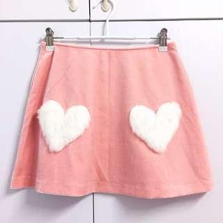 🌸Peach Pink Soft Velour White Fluffy Fur Heart Embellished High Waist Skirt Lazy Oaf Dollskill Style
