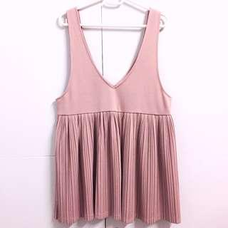 🌸Pink Pleated Babydoll Dress Overalls