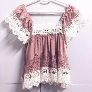 🌸Mauve Pink 2 Way Lace Flutter Ruffle Crochet Lace Sleeve Off Shoulder Blouse Top