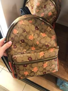 1bafbd060ca20 Coach Charlie Medium Backpack- Brown Signature Floral ☆AUTHENTIC☆