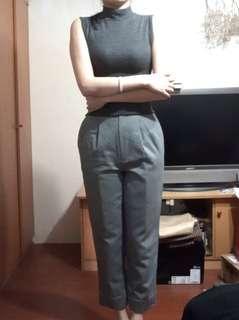 🚚 免運。一套價全新日本古著洋灰色毛呢超質感高腰西裝褲長褲直筒褲送背心