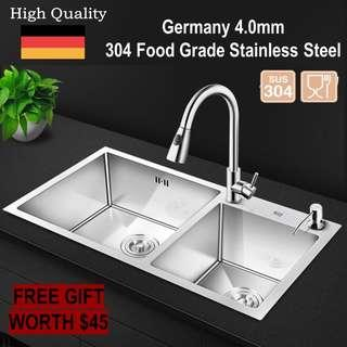 🇩🇪 Handmade 4mm Food Grade Stainless Steel Double Bowl Sink