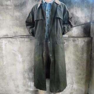 🚚 🏴80s蘇格蘭製軍綠色油蠟布長版防水大衣 復古偵探風衣外套 男女皆可Vintage 古著老品