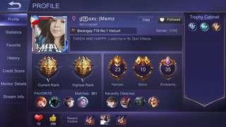 For sale Mobile Legends Account