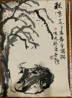 新加坡著名画家翁文光老师的作品牛