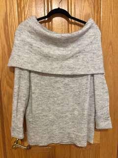 Off The Shoulder Grey Sweater Dress