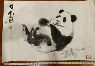 翁文光先生的熊猫画