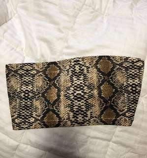 Cropped Snake Print Tube Top