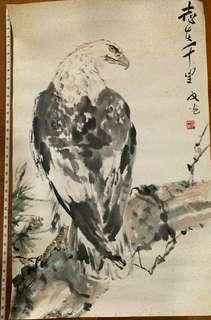 翁文光老师的水墨画老鹰图