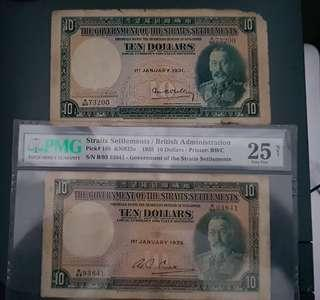 Rare Straits Settlements Banknotes $10 of 1931 and 1935