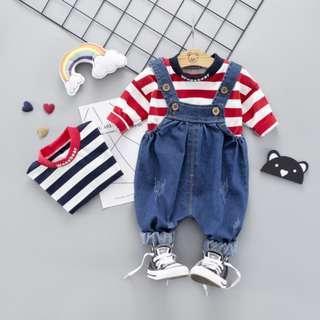 🚚 🌟PM for price🌟 🍀Baby Boy Girl Stripes Long Sleeves Top+Denim Suspender 2pcs Set🍀
