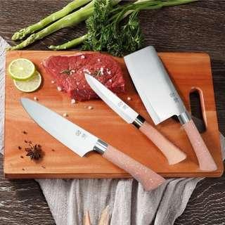 🚚 韓國品牌廚房刀具/菜刀+廚師刀+水果刀三件組#0220
