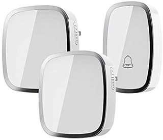 A82 - Wireless Doorbell, Weatherproof Wall Plug-in Cordless Door Chime at 1000-feet Range with 36 Tunes, 1 Push Button & 2 Receivers without Battery Required (white)