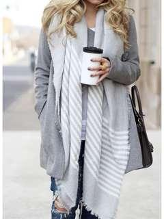 Grey Striped Blanket Scarf