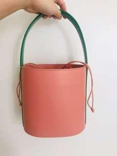 Staud Bissett leather bucket bag pink with green handle