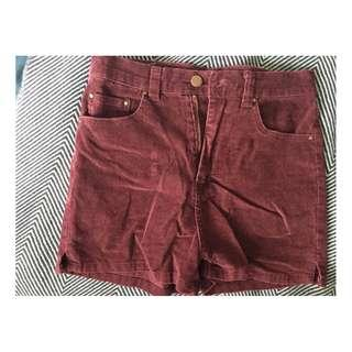 SUPRE Burgundy Corduroy High-Waisted Shorts