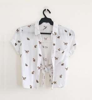 Cat print - cropped shirt